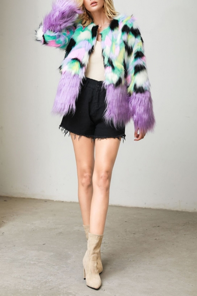 Womens Stylish Colorblock Panel Long Sleeve Open Front Short Faux Fox Fur Jacket Coat