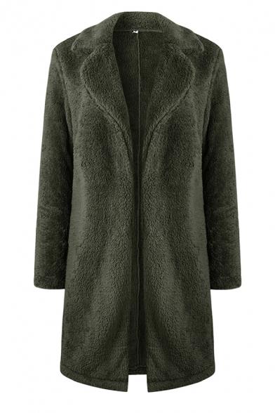 Womens Warm Solid Color Long Sleeve Open Front Fuzzy Teddy Longline Overcoat
