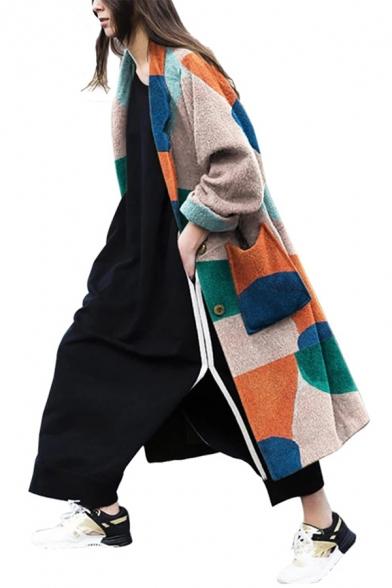 Big Dual Pocket Patched Geometric Pattern Long Sleeve Single Breasted Leisure Khaki Woolen Overcoat