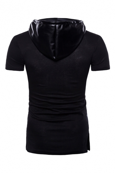 Cool Black PU Leather Panel Short Sleeve Slim Fit Drawstring Hoodie for Men
