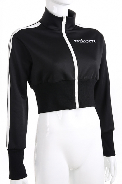 Fashionable ROCKMORE Letter Embroidery Printed Stripe Long Sleeve Zip Up Black Cropped Fitted Jacket