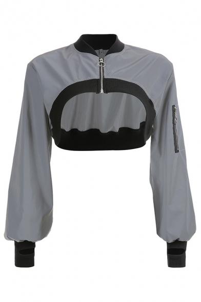 Gray Long Sleeve Contrast Trim Zipper Embellished Super Cropped Outdoor Reflective Windbreaker Coat