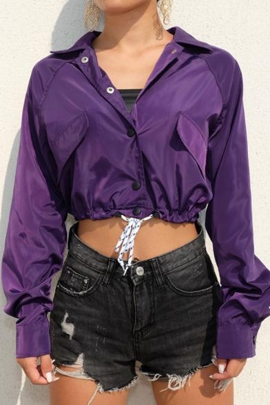 Hip Hop Style Dark Purple Long Sleeve Snap Button Front Drawstring Hem Cropped Jacket