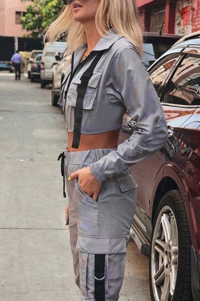 Hip Hop Style Long Sleeve Push Buckle Flap Pocket Zipper Grey Cropped Cargo Jacket for Women