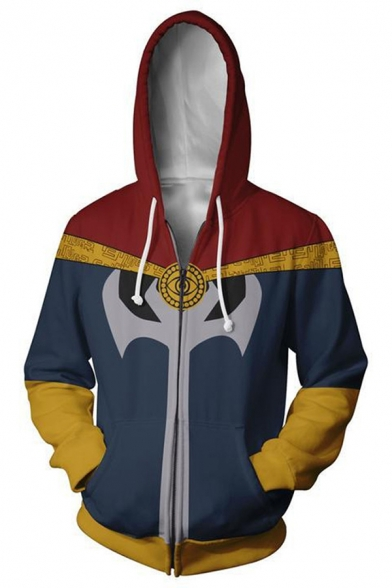 Mens Fashionable 3D Colorblocked Long Sleeve Loose Fit Zip Up Drawstring Hoodie with Pocket