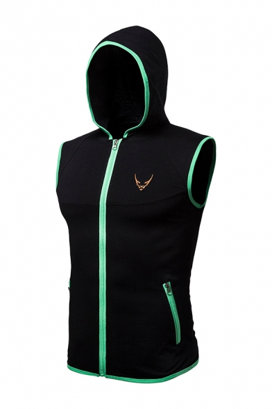 Mens Slimming Embroidery Logo Contrast Trim Zip Up Hooded Vest Sleeveless Hoodie with Zipper Pocket