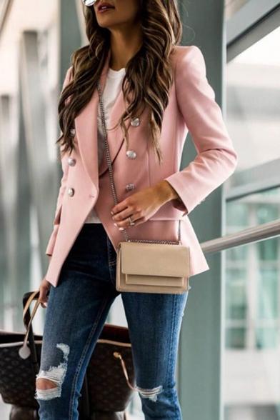 Plain Fashion Lapel Collar Double Breasted Long Sleeve Slim Casual Uniform Blazer Coat for Women