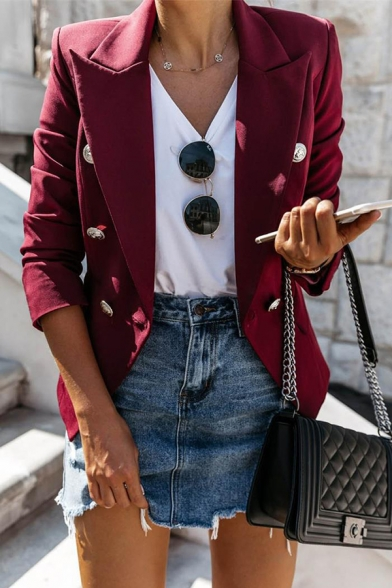 Plain Peak Collar Long Sleeve Double Breasted Work Office Blazer for Women