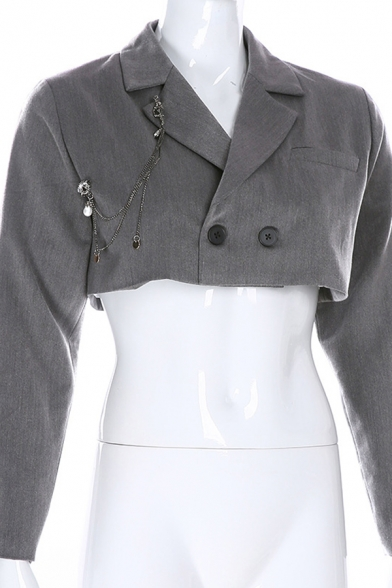 Women Stylish Plain Chic Chain Decoration Long Sleeve Double Button Cropped Suit Coat