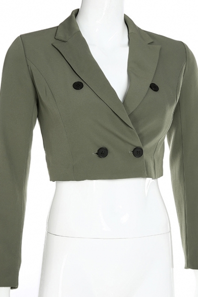 Womens Elegant Dark Green Long Sleeve Button Down Slimming Cropped Blazer Coat