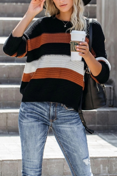 Womens Fashion Colorblock Stripes Button Decoration Long Sleeve Loose Commuting Pullover Sweater LM568723 фото