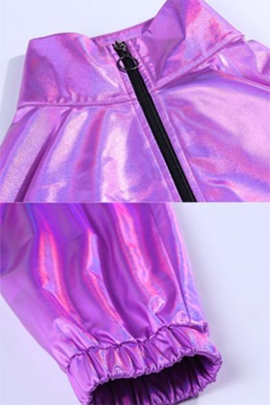 Womens Fashionable Purple Metallic Stand Collar Zip Up Drawstring Hem Loose Fit Windbreaker Coat