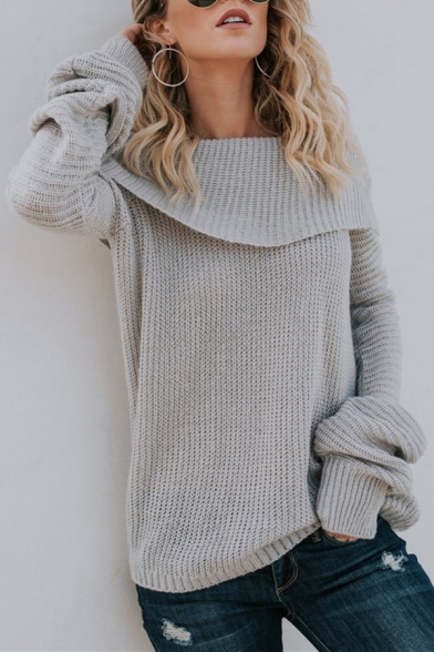 Womens Sexy Foldover Off-the-Shoulder Long Sleeve Loose Fit Casual Plain Knitted Sweater, Blue;gray, LM568884