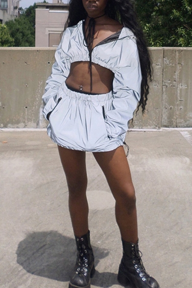 Womens Sexy Gray Plain Long Sleeve Elastic Hem Zip Up Reflective Cropped Hooded Jacket Windbreaker