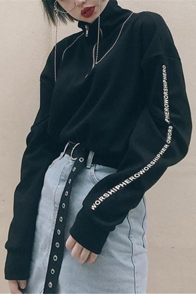 Womens Simple Stand Collar Half Zip Letter Printed Long Sleeve Black Loose Fit Pullover Sweatshirt