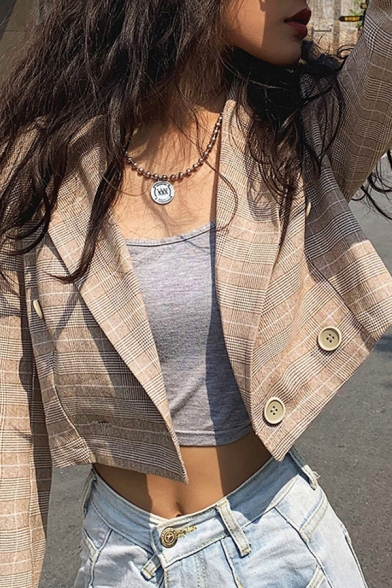 Womens Stylish Khaki Checked Pattern Long Sleeve Button Front Cropped Blazer Coat, LM567213