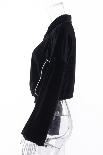 Girls Fashion Lapel Collar Stripe Decorated Long Sleeve Black Pleuche Sweatshirt