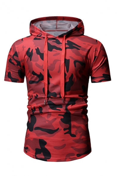 Mens Classic Camo Printed Short Sleeve Zipper Back Slim Fit Drawstring Hoodie T-Shirt