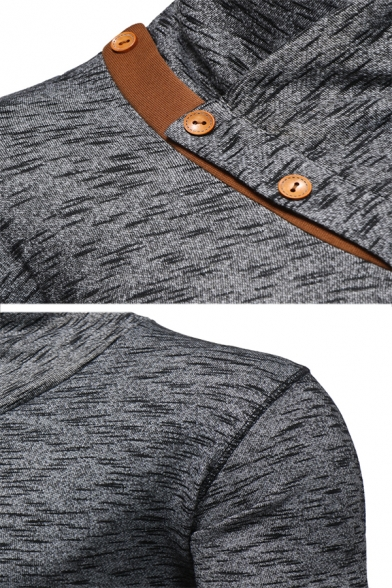 Mens Stylish High Collar Paneled Oblique Button Plain Knitted Pullover Sweatshirt