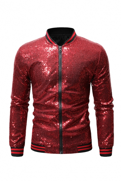 Mens Unique Stand Up Collar Long Sleeve Sequins Embellished Rib Cuff Zip Up Casual Fitted Jacket