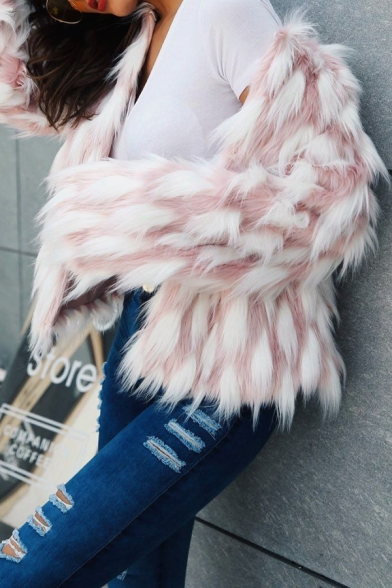 Pink and White Geometric Printed Long Sleeve Open Front Faux Fur Cardigan Coat