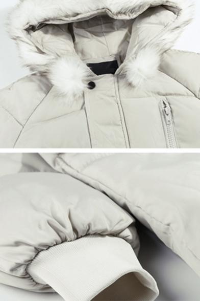 Plain White Fur-Trimmed Hood Long Sleeve Zip Up Puffer Parka Coat with Pocket