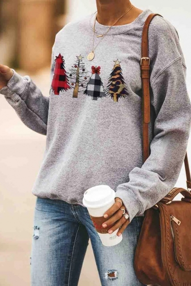 Popular Christmas Pattern Letter Printed Long Sleeve Gray Casual Pullover Sweatshirt