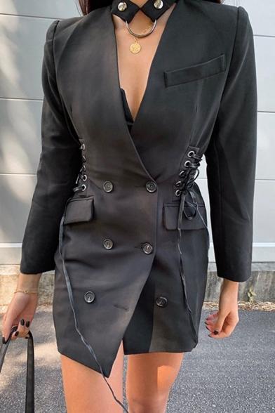 Womens Elegant Long Sleeve Side Tied Double Breasted Plain Black Longline Blazer Coat with Pocket