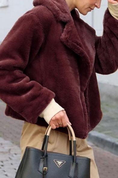Womens Fashion Long Sleeve Notched Collar Long Sleeve Solid Color Short Plush Jacket Coat