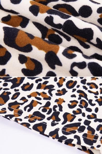 Womens Sexy Leopard Print Glove Sleeves High Collar Mini Bodycon Dress