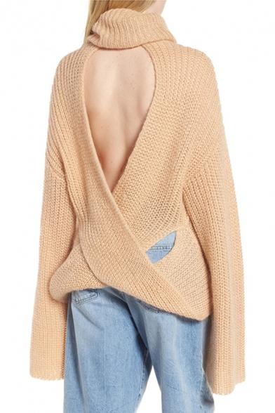 Womens Sexy Plain Crisscross Open Back Turtle Neck Long Sleeve Unique Pullover Sweater