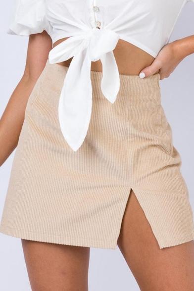 Womens Sexy Solid Color High Waist Side Split Corduroy Mini A-Line Skirt, LC567456, Black;blue;pink;beige
