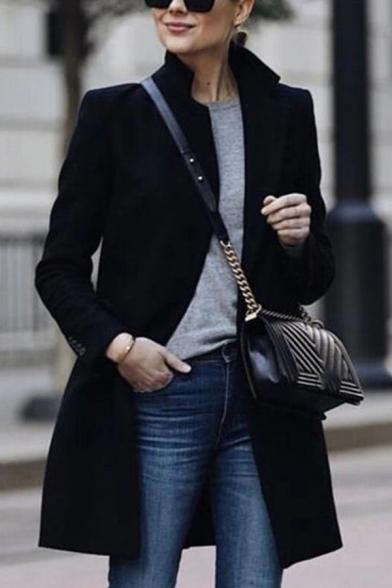 Womens Stylish Black Plain Stand Collar Long Sleeve Mid-Length Wool Coat