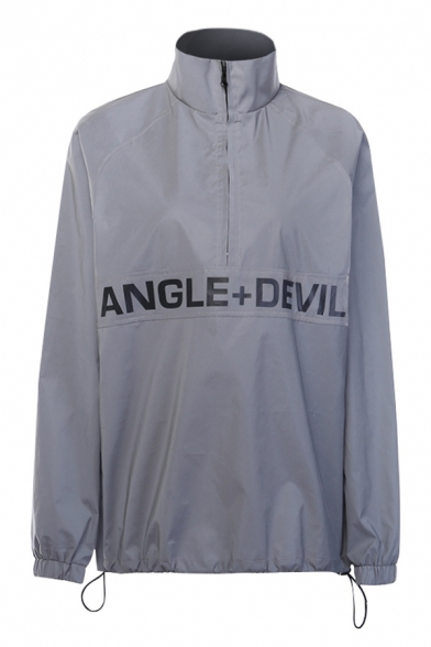 Cool Letter ANGLE DEVIL Printed Stand Collar Long Sleeve Half Zip Grey Longline Reflective Windbreaker Trench Coat