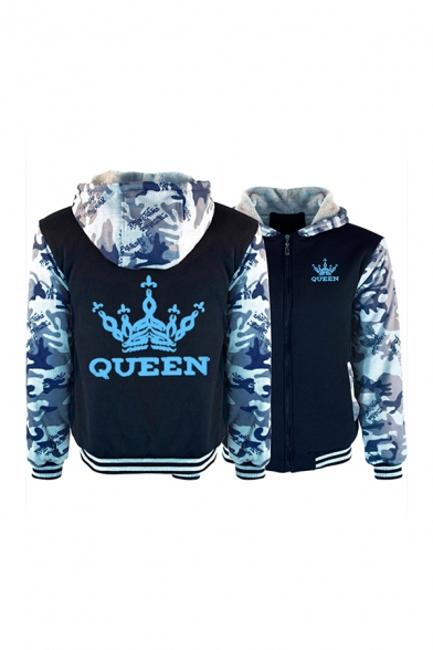 Crown QUEEN Letter Printed Long Sleeve Zip Up Colorblock Pullover Thick Hoodie