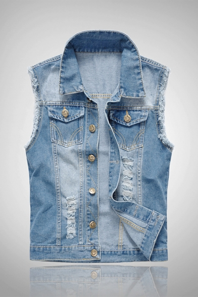 Hot Popular Light Blue Shredded Lapel Button Front Denim Vest with Pocket
