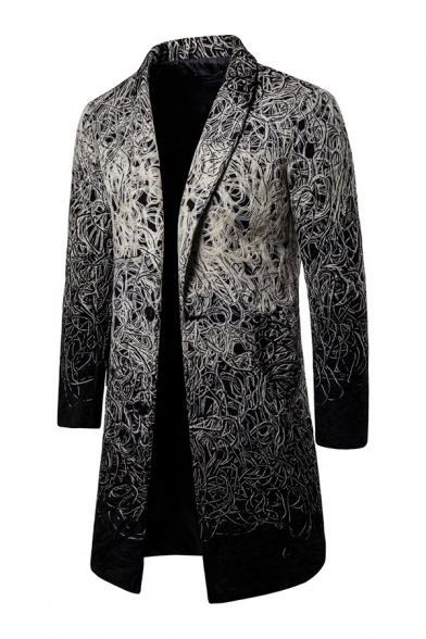 Mens Stylish Patterned Longline Wool Coat Shawl Collar Long Sleeve One Button Vintage Trench Coat