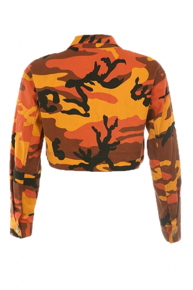 Orange Camo Printed Long Sleeve Push Buckle Ribbon Decorated Pocket Full Zip Cropped Casual Jacket