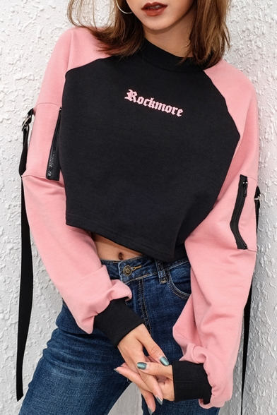 Simple ROCKMORE Letter Printed Raglan Long Sleeve Zipper Ribbon Embellished Pink and Black Cropped Sweatshirt
