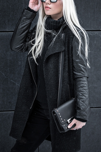 Winter Fashionable Stand Collar PU Leather Patchwork Long Sleeve Oblique Zip Longline Overcoat