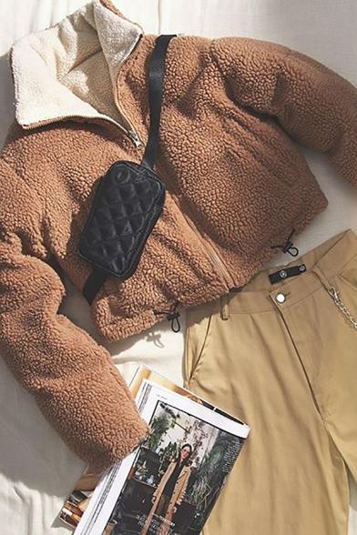 Winter Warm Contrast Lapel Collar Long Sleeve Drawstring Hem Faux Shearling Zipper Cropped Reversible Jacket Coat