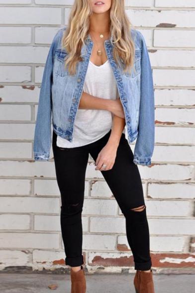Womens Stylish Single Breasted Long Sleeve Short Plain Light Blue Denim Jacket Coat
