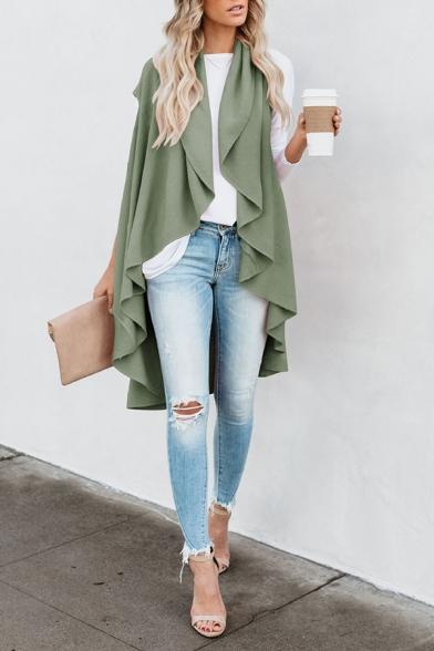 Ladies Popular Waterfall Open Front Asymmetric Hem Solid Color Longline Vest Coat