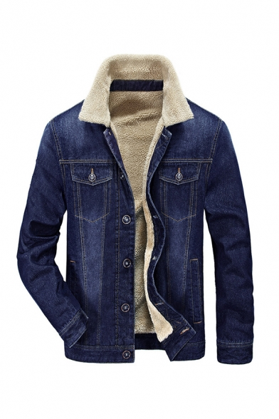 Winter Popular Sherpa Lined Lapel Collar Long Sleeve Single Breasted Blue Denim Jacket Coat with Pocket