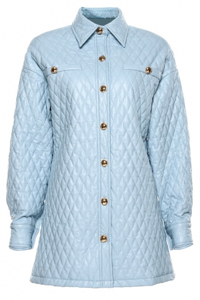 Women Simple Light Blue Lapel Single Breasted Longline Lightweight Quilted Jacket Coat