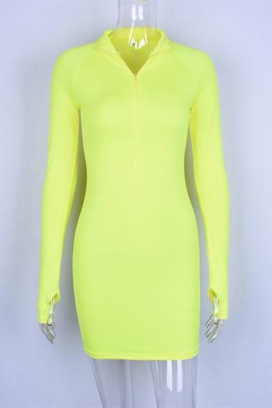 Womens Active Plain Lapel Half Zip Placket Long Sleeve Casual Mini Bodycon Dress