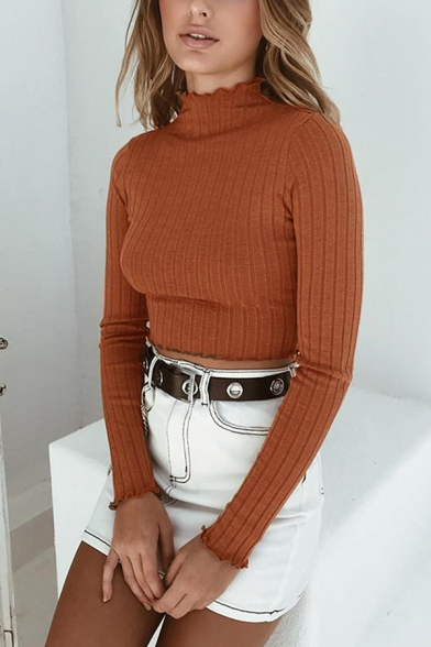 Womens Fashion Coffee High Neck Long-Sleeved Cropped Thin Pullover Sweater Top