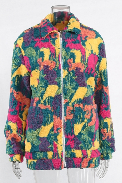 Womens Fashionable Colorful Tie Dye Long Sleeve Big Pocket Zipper Fuzzy Fleece Loose Coat
