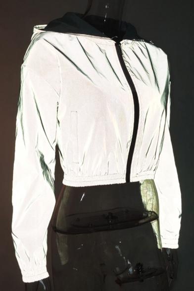 Womens Popular Streetwear Grey Long Sleeve Zip Up Reflective Cropped Coat Jacket with Hood