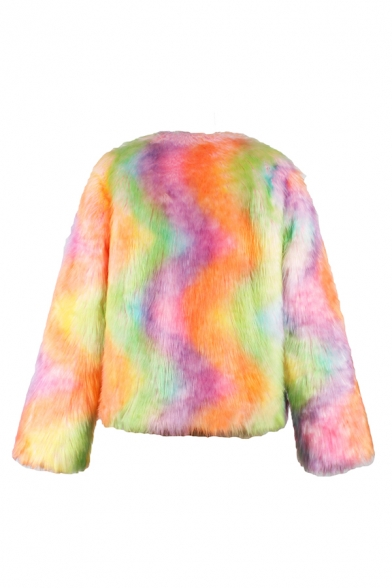 Womens Stylish Long Sleeve Open Front Mixed Color Short Faux Fur Cardigan Coat